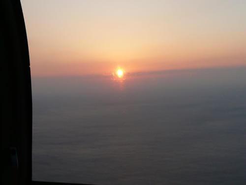 ハワイ島の上空からみるサンセット